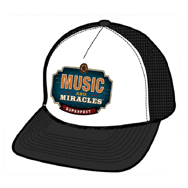 Music and Miracles White and Black Ballcap